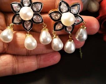 Gorgeous Edwardian Pave Polki Earrings-Bridal Polki Earrings-Rose Cut Earrings-Nickel free Earrings-CZ-Faux Pearls- Wedding Earrings-RK12