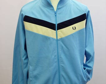 """Vintage Fred Perry track suit top UK mens size L/48"""" chest in light blue"""