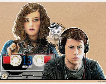 Hannah & Clay - 13 Reasons Why  - Fine Art Print - A4/A3