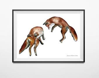 Jumping foxes print, fox wall decor, fox print, fox poster, fox homeware, woodland nursery, woodland print, woodland poster, mr fox poster