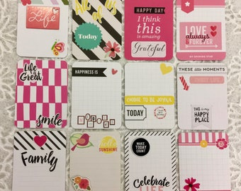 Set of 12 Embellished 3x4 Project Life Cards ~ HAPPY LIFE