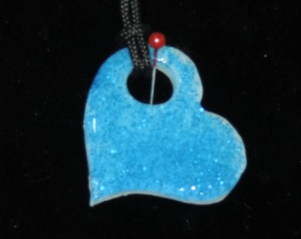 Beautiful Blue Resin Floating Heart Necklace