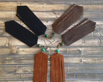 Leather fringe earrings | Boho fringe earrings | Fringe earrings  | Leather earrings | Black leather earrings | brown leather earrings