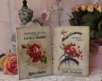 "A set of 2 ""Bonjour Paris"" Shabby Chic Country Cottage style Wall Decor Sign"