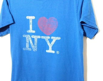 Vintage T-Shirt Small I Love New York Blue Fruit of the Loom BEST Thin and well Worn