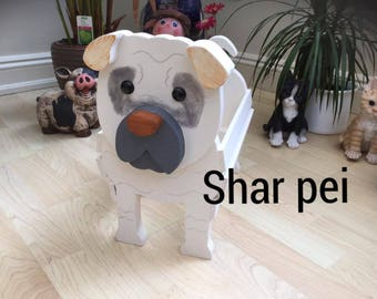 SHAR PEI,wooden garden planter,ornament,decoration,name tag,custom made,