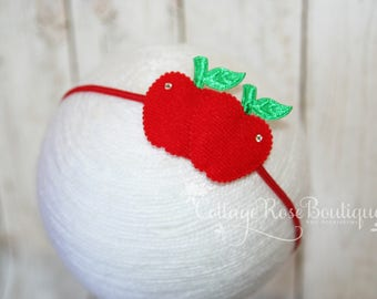 Red Apple Headband, Back to School Bows, Red Headband, Girls Headband, Girls Hair Accessories, Hair Bows, Red Hair Bow, Apple Headband, BTS