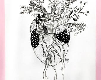 Roots, Anatomical Heart Art, Original Black and White Pen and Ink Drawing, Gallery Wall Home Decor