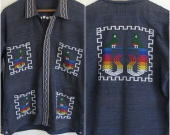 Mens Vintage Bohemian Embroidered Ethnic Shirt, 1960s Collared Hippie Shirt, Mens Boho Clothing