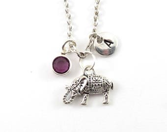 ELEPHANT charm necklace, elephant jewelry, personalized necklace, initial necklace, birthstone jewelry, initial jewelry, personalized gift