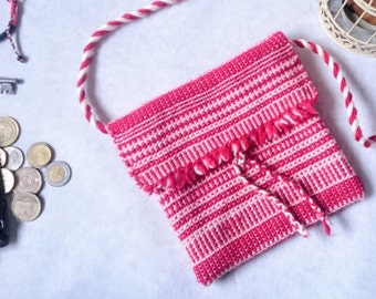 Red hippy bag - gorgeous - touchable - handwoven, crossbody, soft, lined - unique