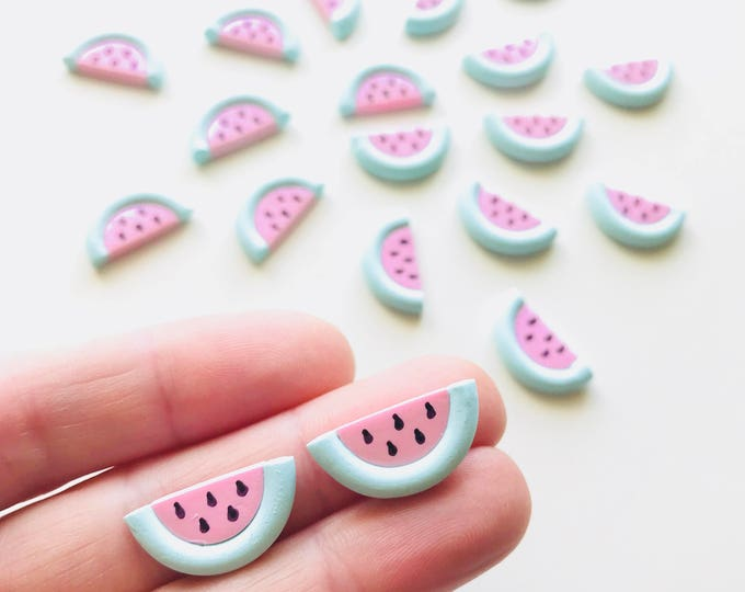Watermelon Scented Earrings - Hand sculpted with Pastel Clay - Stainless Steel Stud Backs