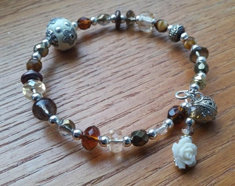 Earthy Topaz & Silver Memory Wire Bracelet with Rose