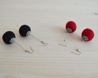 Woollen pom pom chandelier earrings