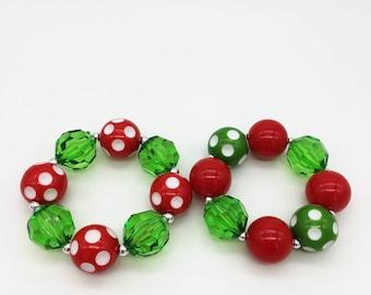 Toddler or Girls Chunky Christmas Bracelet - Red and Green Polka Dot Bubblegum Bracelets
