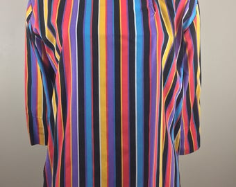 Vintage Marshall Field's Multi-Colored Striped Pullover Top/Made in USA/Size Small