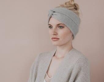 Mohair Knit Headband //Turban Headband //Light Grey Earwarmer //Light Grey Colour