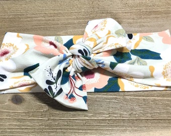 Olive Floral Headband- Baby Headwrap; Baby Head Wraps; Tie Knot Headbands; Baby Headbands; Girls Headbands; Newborn Headbands; Jersey Knit