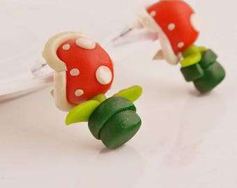 3-D Handmade Polymer Clay Studs Earrings Carnivorous Piranha Plant Teeth Super Mario Bros Kitsch Cute Gamers