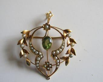 Gold Peridot Pendant-Brooch