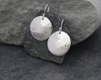 Rustic hammered beaten sterling Silver round earrings- Timeless - Cute - Everyday earrings - silver earrings