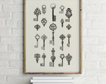 Keys Print, Skeleton Keys, Antique Keys, Keys Printable, Key Print, Keys Art, Antique Print, Keys Printable, Printable Art, Instant Download