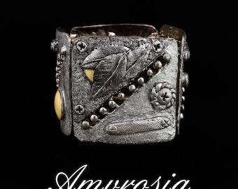 "Mixed style ""Vintage vs. Techno"" bracelet, retro style, antique silver"