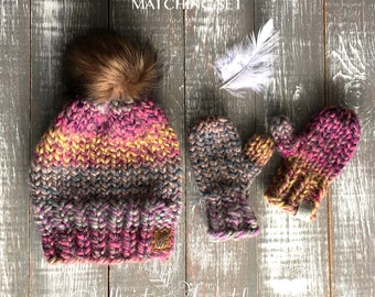 Knit Toque and Mitten Set [] Matching Hat and Mittens [] Knit Mittens [] Knit Hat