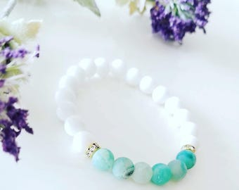 Blue Green Laced Agate with White Jade Yin Yang Bracelet