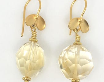 Citrine and Gold Vermeil Earrings, Citrine Dangle Earrings, Vermeil Leaf Citrine Earrings, Citrine Bead Dangles, Citrine Earrings, JS2397