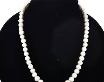 Beaded Pearl Necklace Fresh Water Pearls Navajo Made Single Strand Sterling Silver Finish