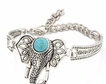 Bracelet boho Elephant in silver and turquoise cabochon