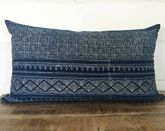 Vintage Hmong Batik Pillow Cover/MALAI 13 x 24