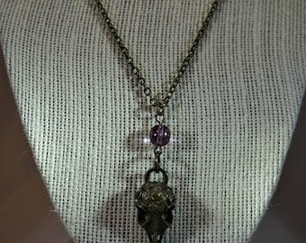 Bird Skull Necklace with Purple Bead
