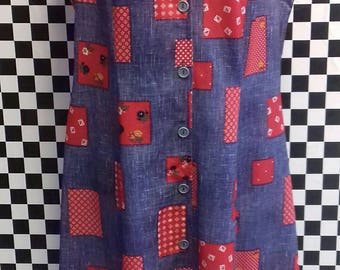Patchwork on denim style dress from the 1970's - M/L