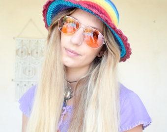 Vintage 90's Rainbow Crochet Sun Hat