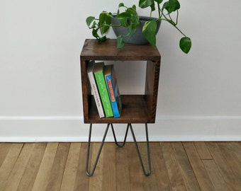 Mahogany Side Console, Nightstand, Rustic Side Table. Industrial Modern Rustic Reclaimed Furniture