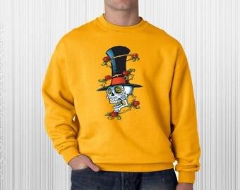 Sugar Skull Shirt, Skull Tophat Roses Day Of The Dead Sweatshirt, Day of the Dead Sweatshirt, Halloween Sweatshirt, Sugar Skull Sweaters