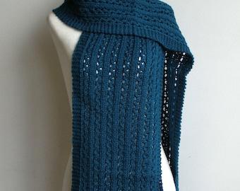 Teal Blue Pure Wool Eyelet Lace & Rib Scarf - 'Lara'.