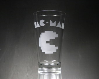 Pac-Man Etched Glass, Personalized Gift, Custom Glass, Glassware.