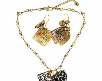 Yves Saint Laurent 1980s Hearts and Logos Vintage Earrings and Necklace Set