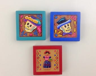 """Mexican Magnets Day of the Dead Traditional Mexican Dress Mexican Ornaments 1.75x1.75"""" Ceramic Magnet"""