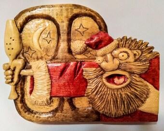 woodcarving wood carving wood santa claus christmas gifts collectible santa statue santa wood santa primitive santa chistmas ornaments
