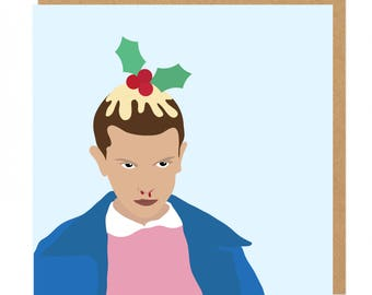 Stranger Things Eleven Christmas pudding Greeting Card