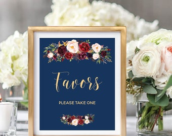Favor Sign, Wedding Favor Sign, Wedding Favors Sign, Printable Wedding Sign, Navy Blue, Foral Watercolor, Burgundy Marsala #A003