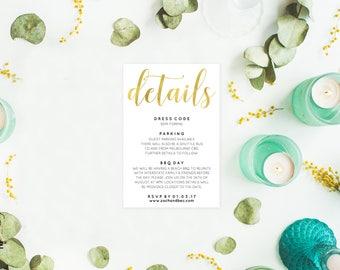 Enclosure cards, Gold wedding details card, Editable pdf, Instant download, Printable details cards, Gold stationery, Details wedding card