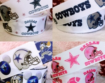 3 yards Dallas Cowboys grosgrain ribbon, Disney Dallas Cowboys ribbon, pink Dallas Cowboys ribbon, Mickey Minnie Dallas Cowboys ribbon