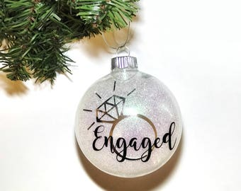 Enagaged Ornament | Engagement Christmas Ornament | Glitter Ornament | Christmas Gift | Christmas Tree | Engagement Gift for Couple