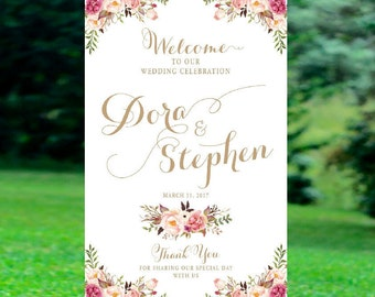 Bohemian Wedding Sign, Wedding Welcome Sign, Printable Wedding Sign, Welcome Wedding Sign, Floral Wedding Sign, wedding sign - US_WS0701