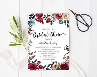 Watercolor Bridal Shower invitation, Bridal shower invitation, Rustic bridal shower invitation, Floral Bridal Shower - US_BI1605a